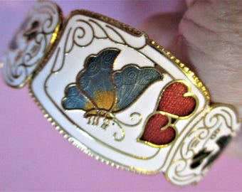 Cuff Bracelet White Cloisonne Hinged Bracelet Red Hearts Turquoise Butterfly Gold Floral Vintage Cuff Bangle Bridesmaid Gift Jewelry
