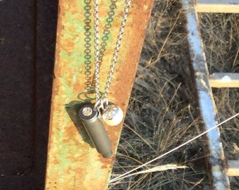 Long Silver Bullet Necklace, bullet jewelry, country girl style, bullet casings, bullet necklace, pearls and bullets, pearls, bohemian