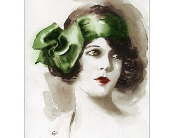Vintage Style Portrait of a Beautiful Woman - Original Watercolor Painting 8 x 10 3/4 inches