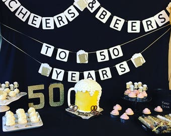 Cheers and Beers Banner, Birthday Banner, Birthday Decor, Beer Party Decor, Cheers and Beers, Celebrate, Banner, Party Decor Banner