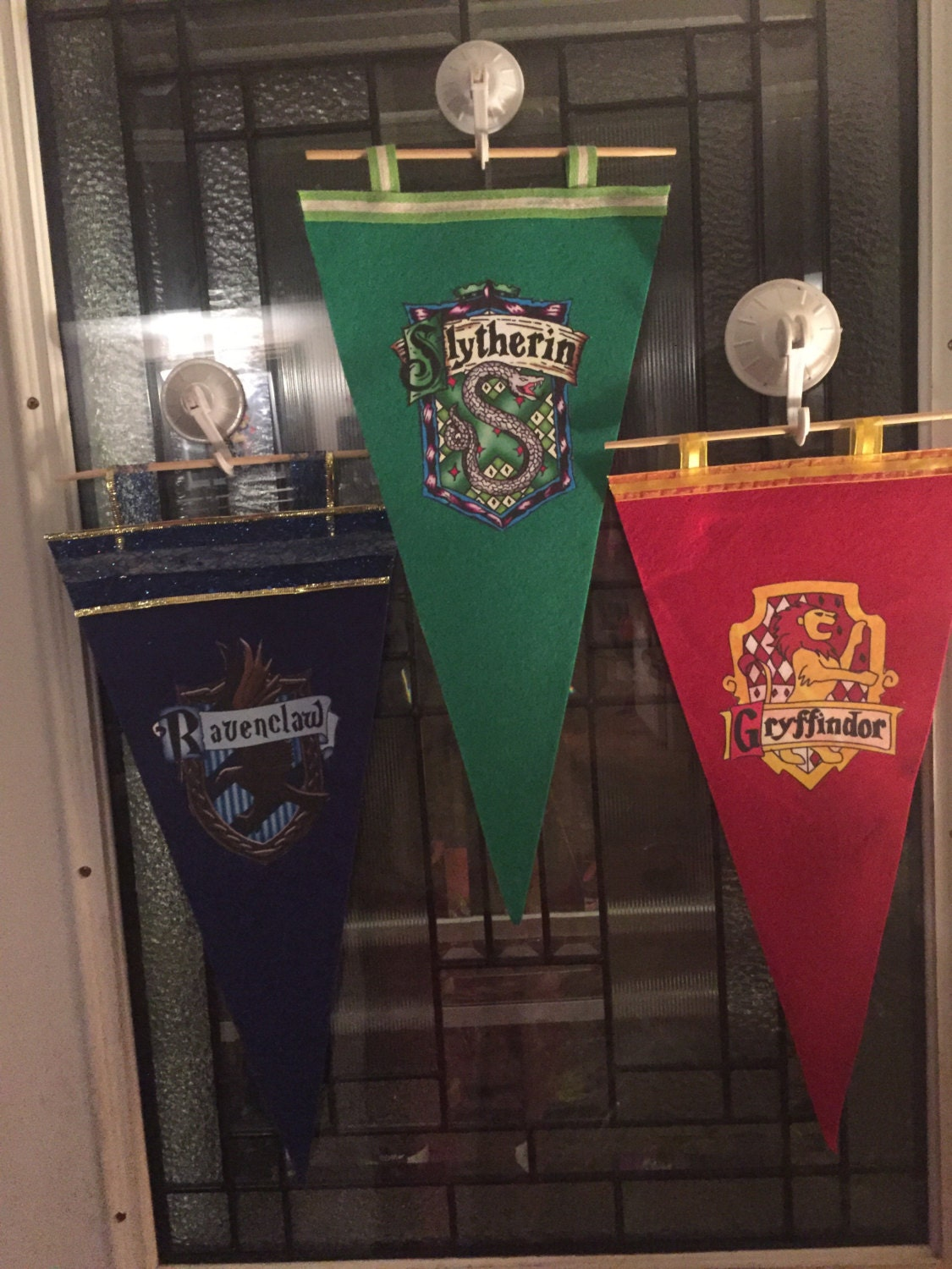 harry potter inspired hogwarts house banners pennants all 4. Black Bedroom Furniture Sets. Home Design Ideas