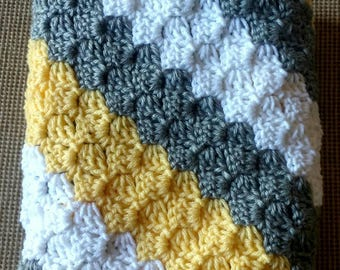 Baby Boy Blanket and Baby Girl Blanket - Crochet baby blanket Silver Grey, yellow and white Stroller/Travel/Ca