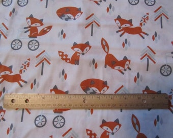 White with Orange Foxes/Leaves/Trees/Arrows Cotton Fabric by the Yard