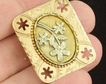 Victorian Gold Filled Locket Brooch Ornate Flowers & Stars Engraved ~ Lot 1266