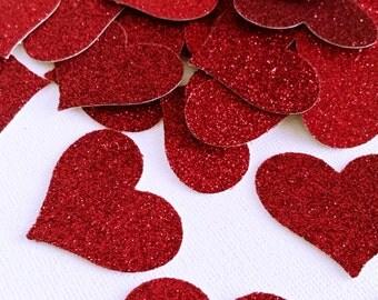 Red Glitter Hearts - Confetti Wedding Decor- Valentines Day Red Hearts - Glitter Party Decor -Red Hearts Table Scatter - Red Confetti Hearts