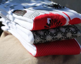 Sweet Red Black and White Burp Cloth set of 3; flowers and dots