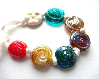 Lampwork Bead Set. Glass Sea Shells and Ammonites