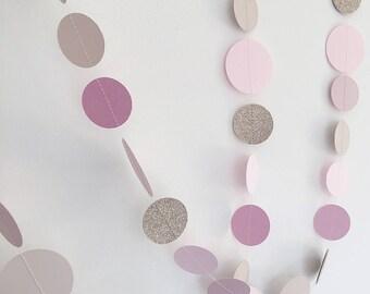 Blush pink and gold wedding garland, paper circle garland, baby shower, nursery decoration, paper bunting, cake smash backdrop, gold & pink