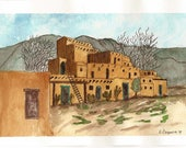 Original Pen and Ink with Watercolor Painting of an Old Southwestern Adobe Village - Not a Print