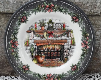 """Royal Stafford, """"Christmas Eve-Cozy Fireplace"""" Luncheon Plate, 8"""", Burslem England, Serving, See Details Below"""