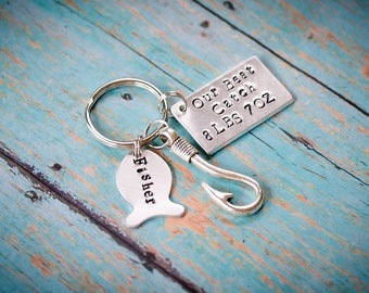 Christmas gift for first time dad, dads first christmas gift, Daddy Keychain - Father's Day Gift - dads best catch, fishing buddy keychain