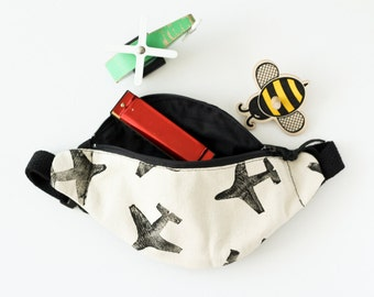MADE TO ORDER, Toddler Fanny Pack, Airplane Print, Monochromatic, Block Printed, Adventure Pouch, Toddler Hip Satchel