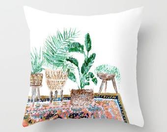 Plant Throw Pillow Cover, botanical pillow, cactus pillow, indoor jungle, palm leaf pillow, banana leaf pillow, boho pillow, bohemian pillow