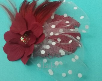 1940s style Red and White Polka dot fascinator, 1940s hairpiece, 1940s dress, pin up girl hair piece, retro hairpiece, rockabilly hair clip