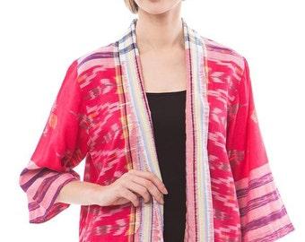 Women Ethnic Traditional Indonesia Tenun Ikat Cardigan Blazer Outer Jacket