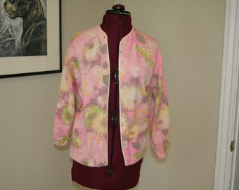 Adorable 1960s 60s Angelon by Darlene cardigan sweater in watercolor floral pink (Small or Med) S M