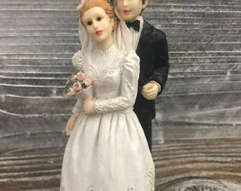 Wedding Cake Topper, Bride and Groom Figurine