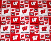 University of Wisconsin Badgers Fabric, NCAA University Fabric,  100% Cotton Fabric, Crafts, Quilts, Home Decor, 1.38 YD Piece Uncut
