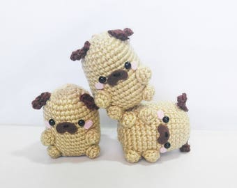 Crochet Pug Bean Amigurumi Dog Plush