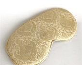 Stunning Metallic Gold silk jacquard eye mask with ear loops