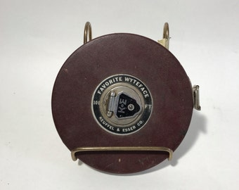 Keuffel and Esser Co 100 FT Winding Measuring Tape Favorite Wyteface Metal Leather Outside Rusty K&E