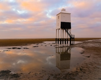 Low Lighthouse, Burnham on Sea, Somerset, Lighthouse, Reflection, Sky, Clouds, Fine Art Photography, Sea, Sand, Beach, Photography, SW