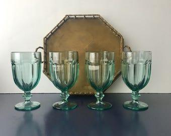 vintage Libbey Duratuff glass goblets Gibraltar pale aqua stemmed glassware set of 4
