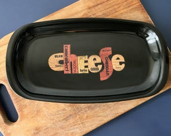 vintage Couroc cheese tray platter typography retro