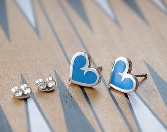 Silver earrings. Handmade sterling silver earrings with jewelry ennamel.