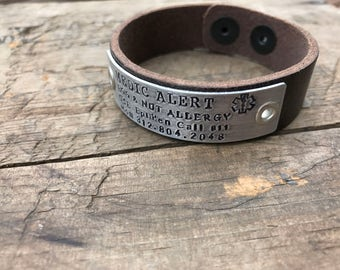 Leather Medical Alert Bracelet Childrens Nut Allergy Medical Bracelet Kids Peanut Allergy bracelet