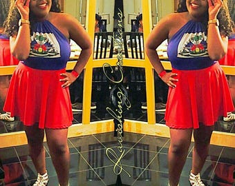 Haitian Flag Dress Flag Day Outfit Carnival Dress Party Dress Festival Outfit