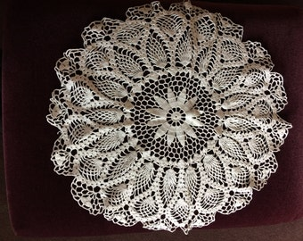 Large White Doily Crocheted by Hand