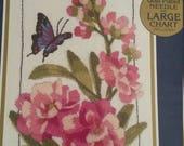 Opened but Never Used Bucilla Crewel Kit Floral Butterfly Number 42027 Designed by Barbara Baatz Kooler Design Studio