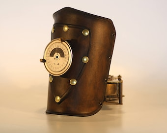 basic steampunk leather bracer with patch and gauge , made to order