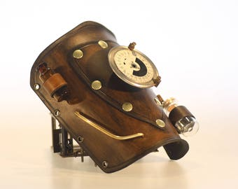basic steampunk leather bracer with utilitys, one off