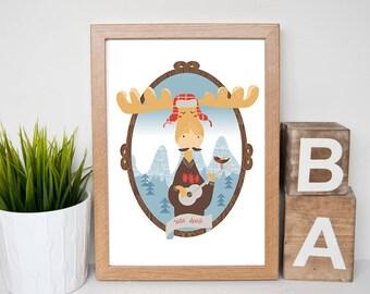 Nursery animals prints, PRINTABLE art, Woodland animals decor, Baby animals, Nursery art, Nursery decor, digital animals prints, moose