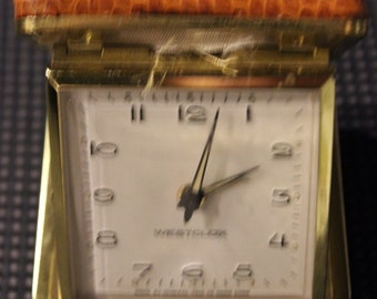 Vintage Westclox-Brand Manufactured Wind-Up Travel Alarm Clock