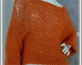 SWEATER WOMANS KNITTED Poncho with sleeves Oversized Loose knit