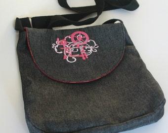 Denim cross-body bag filigree spinning wheel