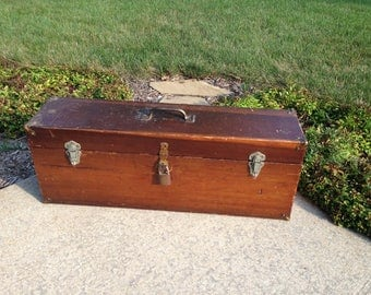 Vintage Primitive Wood Tool Box Chest
