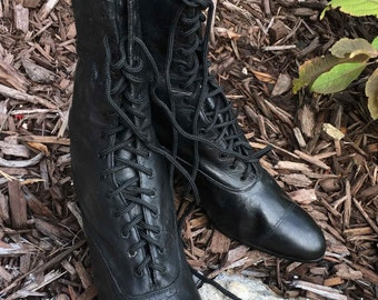 "Victorian Women's Black Leather Riding Boots from the 1800's ""Roberts Johnson & Rand, St. Louis"""