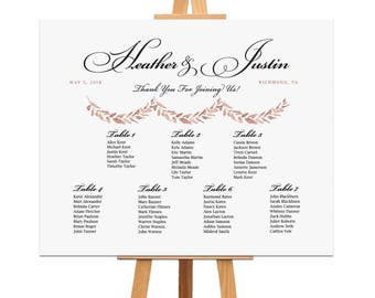 Watercolor Wedding Seating Chart, Rose Gold Table Assignment, Rehearsal Dinner Sign, Wedding Reception Seating Plan, Table or Alpha Order