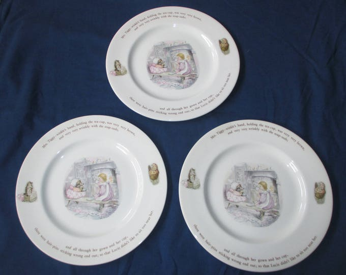 "Set of 3 Vintage Wedgwood Beatrix Potter MRS TIGGY WINKLE 9-7/8"" Dinner Plates (c. 1980s)"