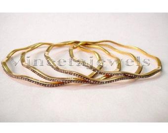 Designer Victorian Inspr. 5.35Ctw Rose Cut Diamond Anti. Silver Cuff Bracelet(4Pc)