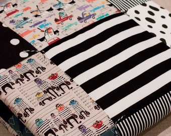 Modern Baby Quilt, Baby Boy Quilt, Cops and Robbers Quilt, Black and White Quilt