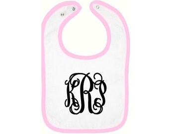 Infant monogrammed bib, Baby girl bib, Infant girl bib, Monogrammed Bib, Monogrammed Bib, personalized bib, baby girl shower gift,