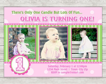 Girl 1st Birthday Invitation, Pink Birthday Invite - Printable File or Printed Invitations
