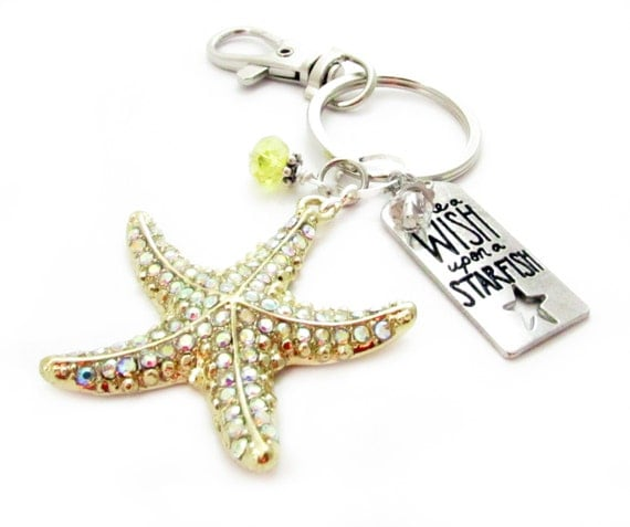 Starfish Keychain, Starfish Keyring, Wish Keychain, Beach Keychain, Car Accessories, Gold Starfish, Gift for Her, Gift Under 20