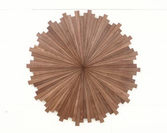 Starburst wood wall art, made of Black Walnut, Different Sizes Available, Mid Century