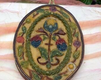 1960's German Wax Ornament/Decor - Hand Made, Stunning Berry Floral Design - Rare, Beautiful!